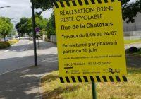 Création d'une piste cyclable rue de la Chalotais (du 8 juin au 24 juillet)