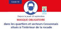 Port du masque obligatoire dans les quartiers et secteurs Cessonnais situés à l'intérieur de la rocade